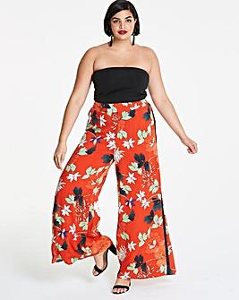 Floral Print Wide Leg Trousers Reg