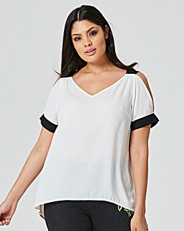 Colour Block Cold Shoulder Blouse