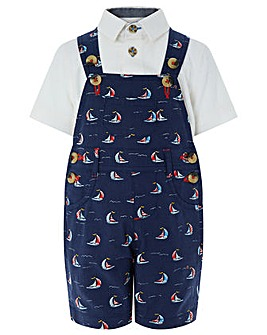 Monsoon Simon Sail Boat Dungaree Set