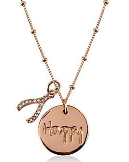 Radley Wishbone and Coin Charm Necklace