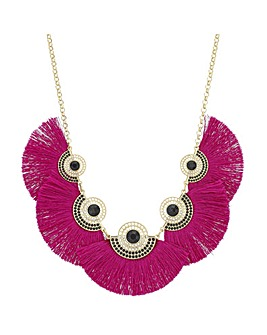 Pink Fringe Statement Necklace