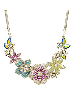 Multi Colour Pave Flower Necklace