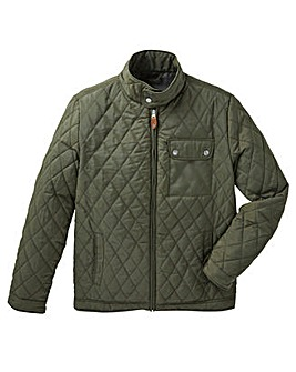 Jacamo Khaki Beattie Quilted Jacket Long