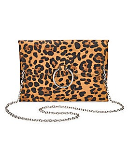 Sophie Leopard Ring Detail Clutch Bag
