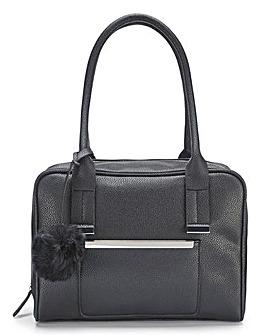 Lola Black Bowler Bag with Pom Pom