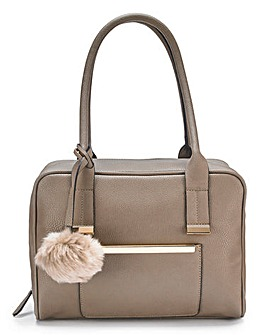 Lola Taupe Bowler Bag with Pom Pom