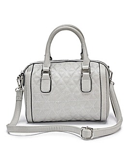 Grey Quilted Mini Bowler Bag
