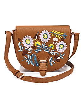 Tan Saddle Bag With Embroidery