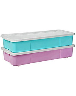 Pair of 45L Underbed Storage Boxes  Pink