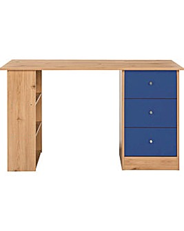 Kids Malibu 3 Drawer Desk Blue on Pine.