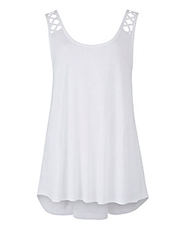 White Lattice Strap Jersey Swing Vest