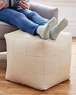 Faux Leather Cube Footrest