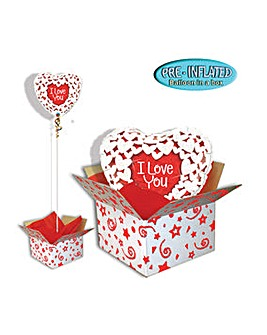 I Love You Glitter Heart Balloon in Box