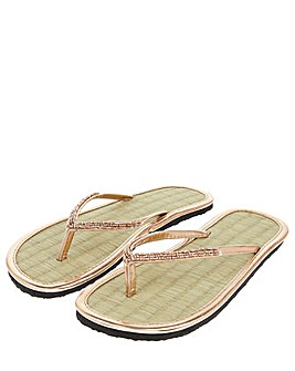 Accessorize Rose Gold Seagrass Flip Flop