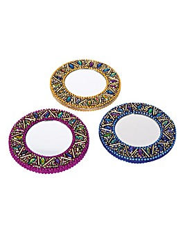 Beaded Handbag Mirrors Set of 3
