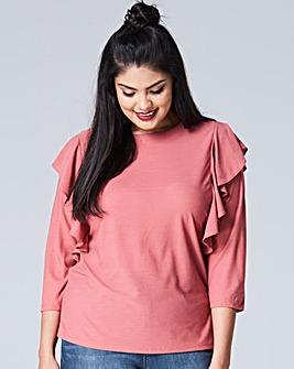 Dusky Pink Long Sleeve Ruffle Top