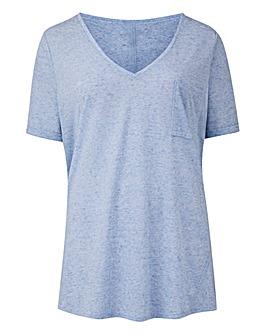 Blue Linen Mix V-neck T-shirt