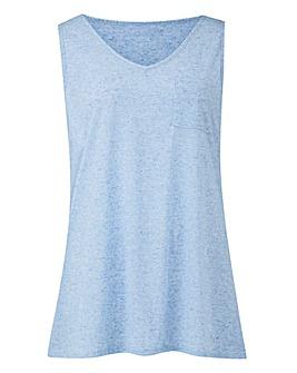 Blue Linen Mix Vest