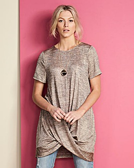 Rose Gold Metallic Twist Hem Tunic