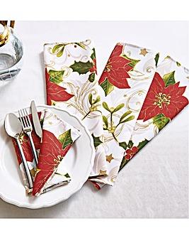 Holly Poinsettia Napkins Set 4