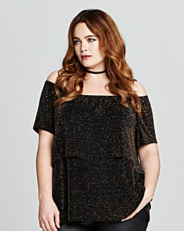 Gold/Black Glitter Frill Bardot Top