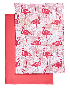 Flamingo Set of 2 Tea Towels