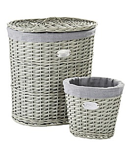 Store It Split Wood Oval Laundry Basket