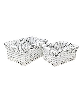 Set of 2 Marble Storage Baskets