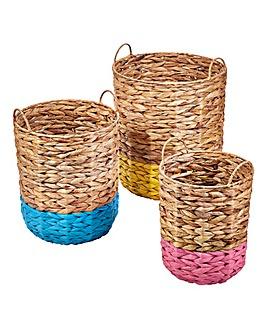 Set of 3 Colour Dip Storage Baskets