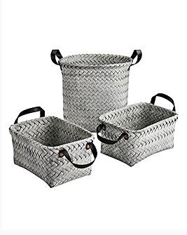 Set of 3 Grey Wash Storage Set