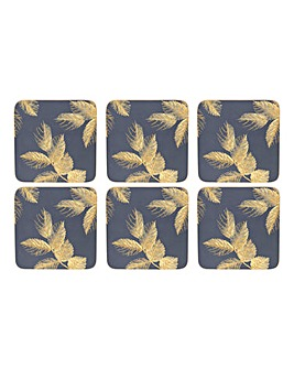 Sara Miller Etched Leaves Coasters