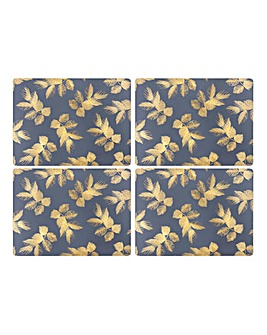 Sara Miller Etched Leaves Navy Placemats