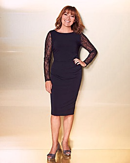 Lorraine Kelly Lace Sleeve Midi Dress