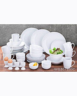 42 Piece Simply White Round Dinner Set