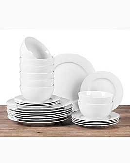 24 Piece Pure White Dinner Set