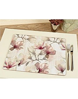 Metallic Floral Set of 4 Large Mats