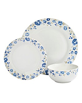 Blue Floral 12 Piece Dinnerset