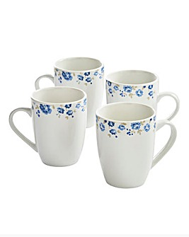Blue Floral Set Of 4 Mugs