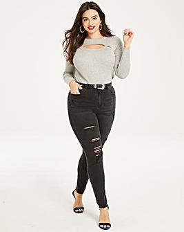 Chloe High Waist Distressed Jeans Short