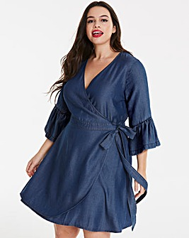 Tencel Wrap Front Midi Dress