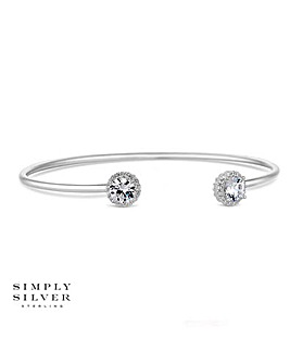 Simply Silver Cubic Zirconia Halo Bangle