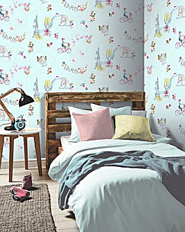 Paris With Love Wallpaper - White, Teal