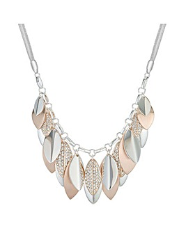 Pave Layered Leaf Necklace