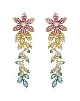 Multi Colour Pave Floral Drop Earring