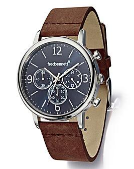 Fred Bennett Gents Brown Strap Watch