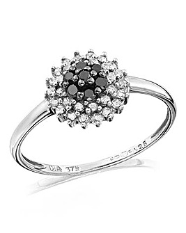 Black and Clear Diamond Cluster Ring