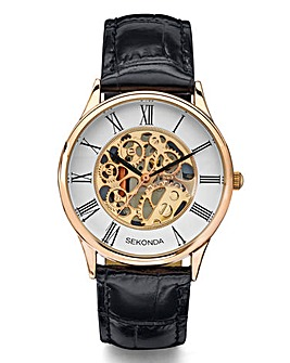 Sekonda Rose Gold Skeleton Dial Watch