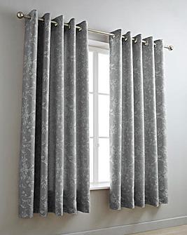 Sophia Jacquard Grey Eyelet Curtains