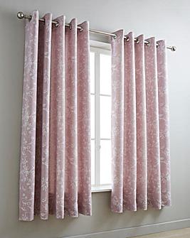 Sophia Jacquard Pink Eyelet Curtains