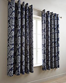 Navy Orla Jacquard Curtains